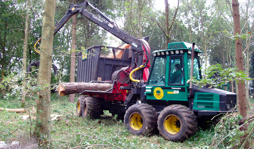 Forestry machine in action