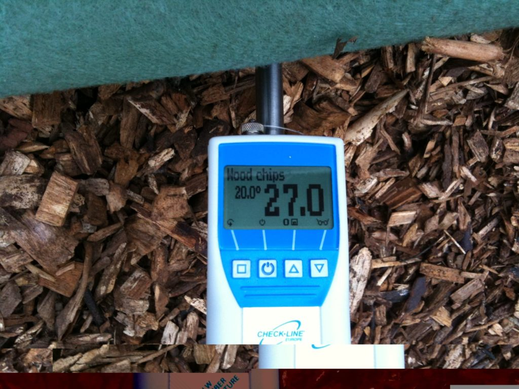Moisture content of the wood chip is regularly checked