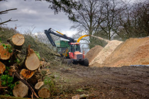 Our tree chipper working on site